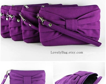 SUPER SALE - Set of 2 Eggplant Purple Bow Clutch - Bridal Clutches, Bridesmaid Clutch, Bridesmaid Wristlet, Wedding Gift - Made To Order