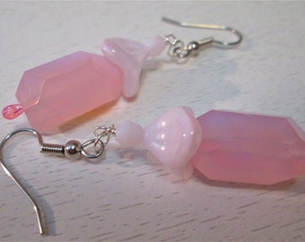 Pink glass bead earings