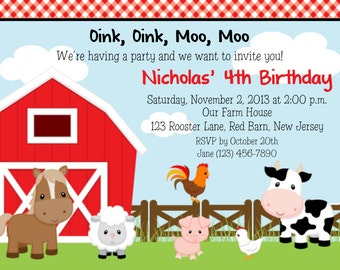 Farm Animals Invitation - Personalized Custom Farm Barnyard Birthday Invitation Print Your Own