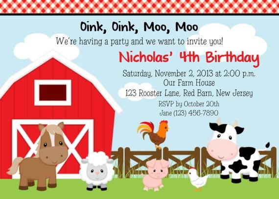 Farm Animals Invitation Personalized Custom Farm Barnyard