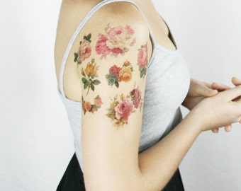 Boho gift for wife - Flower Gift for Wife - Girlfriend boho ideas - 6 Vintage Roses Temporary Tattoos - Rose Temporary Tattoo Sleeve