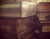 9 AMAZING Antique Vintage Tin Boxes Tin Cans Distressed Vintage and Haunted