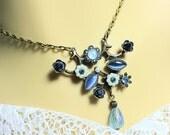 Blue Victorian Style Antique Bronze Necklace