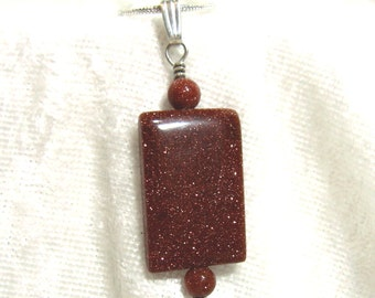 Brown Goldstone Pendant  Solid 925 and 935 Sterling Silver Wire Wrapped