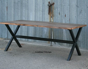 Vintage Industrial Dining Table. Minimalist, Modern, Urban. Reclaimed Wood and Steel. Custom. Made to order.  Bench available separately