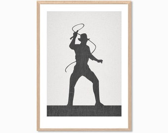 INDIANA | Jones Poster : Modern Illustration Retro Art Wall Decor Print