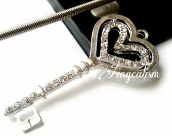 Rhinestone Key Charm Heart Key Charm | Silver Tone Double Heart with Crystal Rhinestones