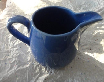 Vintage Cornflower Blue Ceramic Pitcher