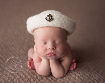 Felted Sailor Hat Doubles as a Felted Cloche' ~ Felted Newborn Hat ~ Organic ~ Boy Hat ~ Newborn Photography ~ Girl Hat ~ Photo Props