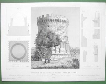 ARCHITECTURE Italy Rome Round Tomb of Plautia Plautius Family  - 1850 Original Antique Print Engraving