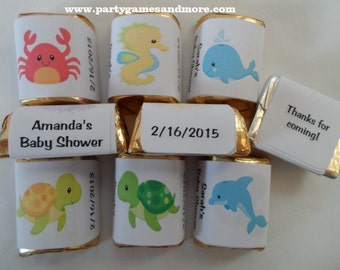 30 Unique Personalized Under the Sea Baby Shower, Birthday Hershey's nugget labels, candy wrappers, turtle, seahorse, crab, whale