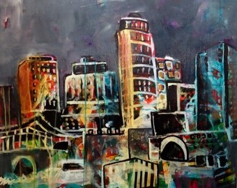 24x24 Abstract Cityscape Painting