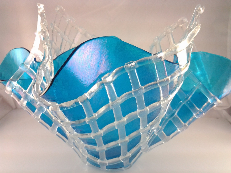 Fused Glass Vase Iridescent Aqua Blue With By Angelasartglass