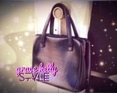 50's Grace Kelly Style Black Leather Handbag