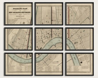 Old New Orleans Map Art Print 1845 Antique Map Archival Reproduction - Set of 9 Prints