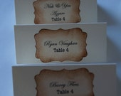 Beautiful Hand Crafted Cream Wedding Escort Cards Vintage or Shabby Chic Style x 10