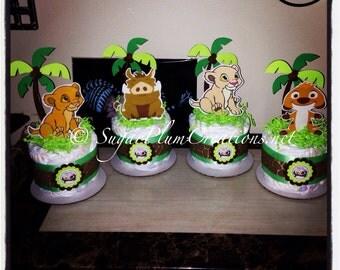 Set of 4 Lion King Diaper Cake Minis- Simba, Nala, Timon and Pumba- Lion King Baby Shower-Lion King Theme Party decorations