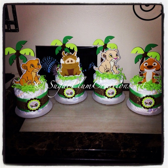 King Cake Decorating Kit : Set of 4 Lion King Diaper Cake Minis Simba Nala Timon and