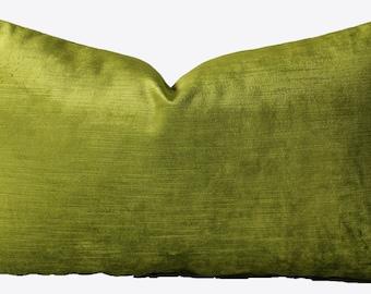 Decorative Bright Lime Green Belgium Velvet, 18x18, 20x20, 22x22 or Lumbar, Chartreuse Throw Pillow