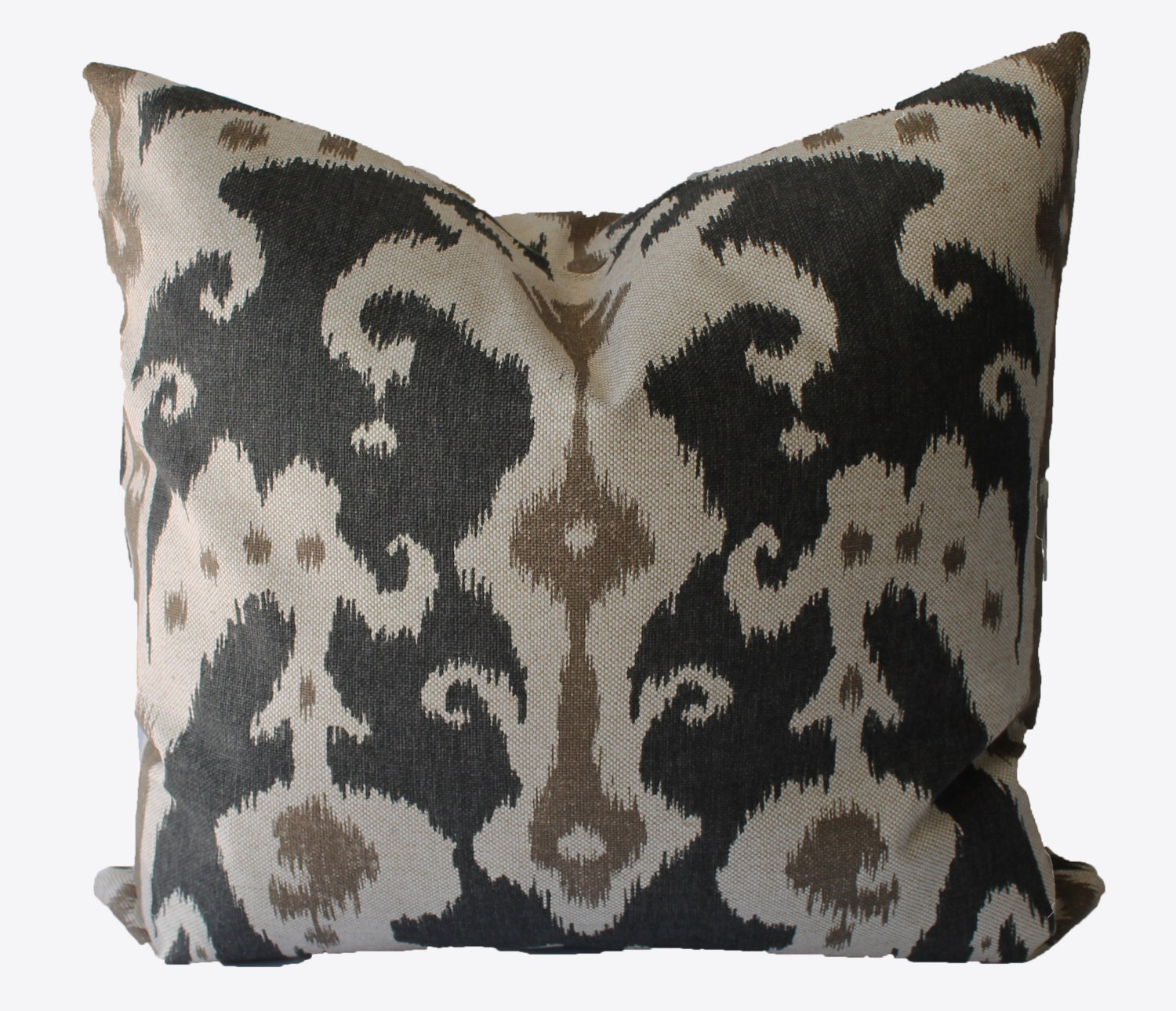 Throw Pillows Charcoal : Decorative Ikat Charcoal Grey Beige Tan Marrakesh 18x18