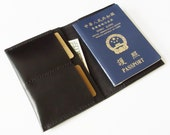 Passport Cover - Personalized Leather Passport Holder with Card Slots in Black - for Travel - Handmade and Hand Stitched - Free Monogram