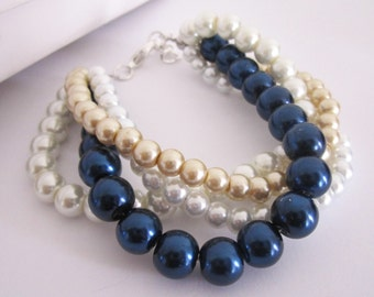 Chunky Braided Twisted Pearl Bracelet, Ivory, White, Navy Blue Champagne Bridesmaid Bracelet Wedding Bridal Bracelet Bridesmaid Jewelry Gift
