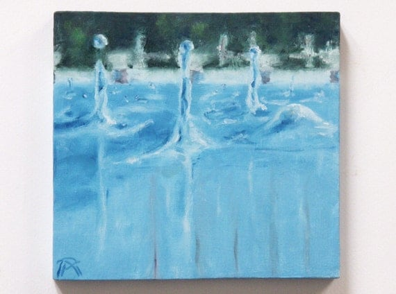 "SALE !!! Small oil painting on wood, original. Water drops and reflections. ""Swimming pool in the Rain"" 7""x7.5"""