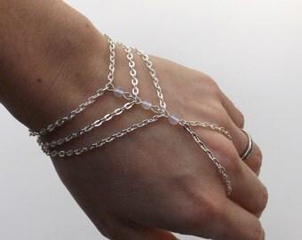 Moonstone Handchain, Hand Bracelet, Silver Bracelet, Chain Bracelet, Hand Chain, Handflower, Moonstone Hand Bracelet, Customizable
