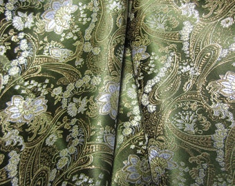 Chinese brocade fabric in olive green with a floral pattern in gold and silver - 1 yard of olive green brocade with silver and gold, 1 yd.