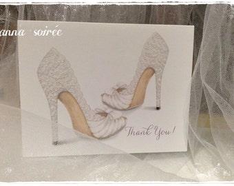 LACE WEDDING SHOE Thank You Card - Personalized with Name, Thank you or just the design! Couple's Shower, Wedding, Engagement