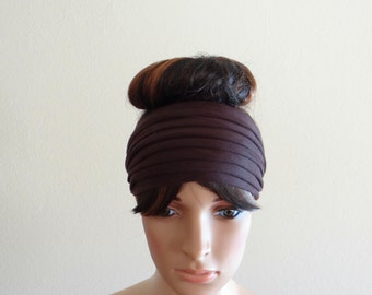 Dark Brown Headband. Wide Head Wrap
