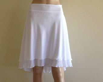 White Bridesmaid Skirt. White High Low Skirt. Chiffon Evening Skirt.