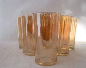 6 Iridescent Gold Carnival Glass Tumblers by Jeannette Optic Vintage Set of 6