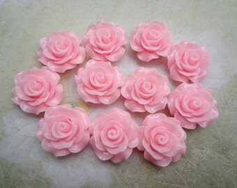 Resin Rose Flower--50pcs 19 mm Pink  Rose Flowers Cabochons Cameo Base Setting