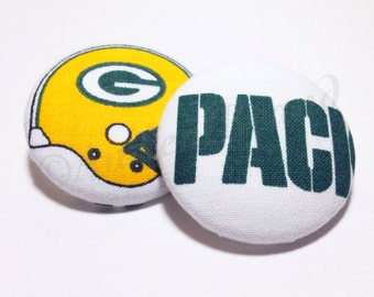 Oversized Green Bay Packers Print Button Earrings