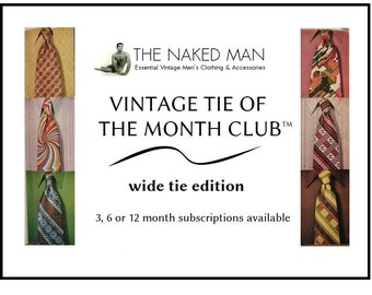 Vintage Tie of the Month Club WIDE TIE EDITION Choose 3, 6 or 12 Month Mens 1970s Necktie Subscription Free Domestic Shipping Included