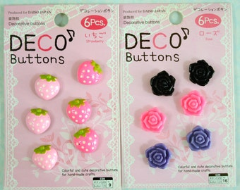 6 Pcs Kawaii Japanese Deco Buttons- Strawberry or Roses