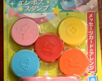 5pcs Japanese Embosser Stamps -Diamond, Rose, Dove, Teddy Bear, & Button