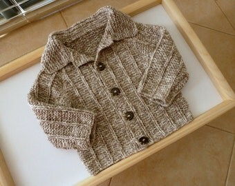 Cute brown hand knitted cotton baby boy sweater, handknit fit to 6 months