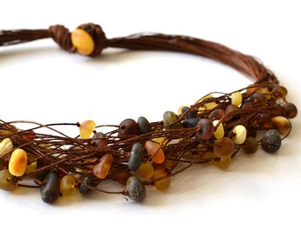 Natural Baltic Amber Linen Necklace Raw Amber Eco Friendly Gift for Her Natural Jewelry