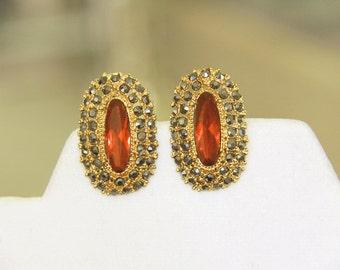 Red Earrings - Vintage Clip Read Earrings - Red Earrings Large Stone Rhinestones - Gray Rhinestones - Gold Tone Earrings - Ruby Red Earrings