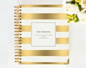 January 2015 DAY DESIGNER - Gold Stripe - Yearly Planner & Daily Agenda, Calendar, Organizer