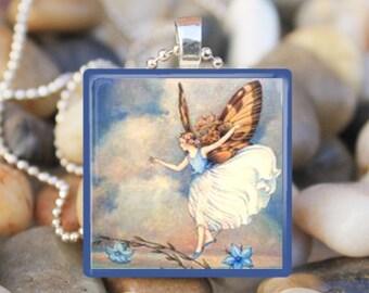 BLUE SKY FAIRY Vintage Fairies Pixie Wings Fairy Tale Glass Tile Pendant Necklace Keyring
