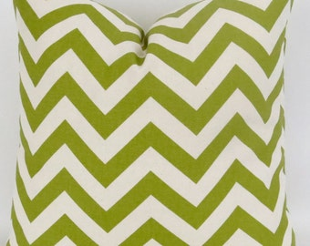 Green Chevron Pillow Cover -ANY SIZE- Zigzag Decorative Throw Pillow, Citrine Green, Off-White, Ecru, Summerland Premier Prints, FREESHIP