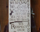 Wood Sign, In this House We Hunt, We Do Camo, Deer Hunter, Hunting, Handmade, Word Art