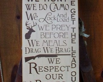 Wood Sign, In this House We Hunt, We Do Camo, Deer Hunter, Hunting, Handmade, Word Art