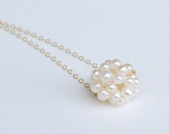 Pearl Bridesmaid Necklace - White Pearl Cluster Necklace - Gold Filled or Sterling Silver Bridesmaid Necklace - Freshwater Pearl Jewelry