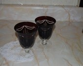 Pair of Italian Cre Art Cut to Clear Ruby/ Cranberry Glass Goblets
