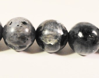 Larvikite Gemstone Beads 8mm Round Black Labradorite Natural Stone Beads for Jewelry Making on a 7 1/4 Inch Strand with 23 Beads