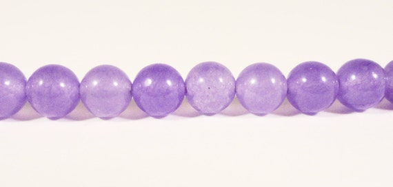 Purple Jade Beads 6mm Lavender Purple Candy Jade Mountain Jade Dyed Stone Beads for Jewelry Making on a 7 1/4 inch strand with 30 Beads